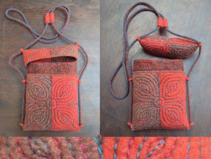 'Fishing bag' - Relief quilted felt bag by Vanda Robert
