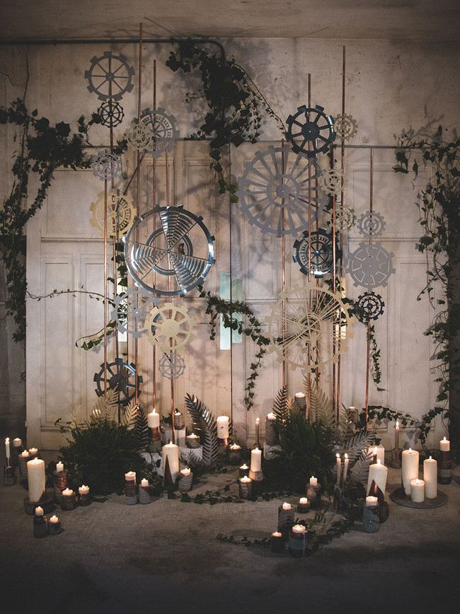 How to Style an Industrial Chic Wedding Ceremony | SouthBound Bride | http://www.southboundbride.com/industrial-chic-ceremony-spaces | Credit:  La Femme Gribouillage/MC2 Mon Amour/Adeline Fonknechten via Green Wedding Shoes