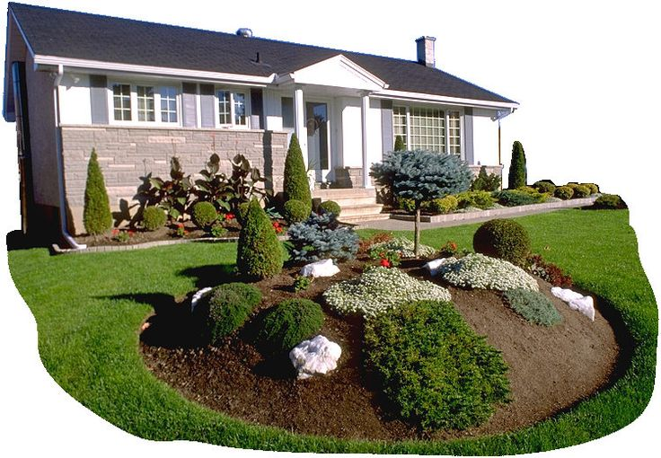 Garden island for front yard i also like the small border shrubs lining the house - Garden design basics ...