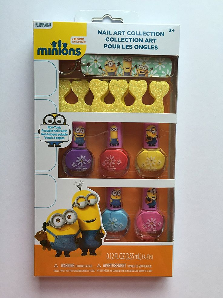 Minions Nail Art Collection Set of 7... 5 Non-toxic Peelable Nail Polishes, Toe Separators and Nail File Keyring * This is an Amazon Affiliate link. See this great product.