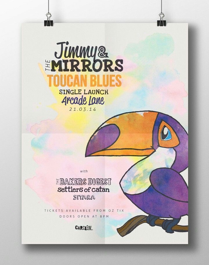 Gig Poster Design for Jimmy and the Mirror's Toucan Blues EP Launch featuring watercolours and a hand-drawn illustration.