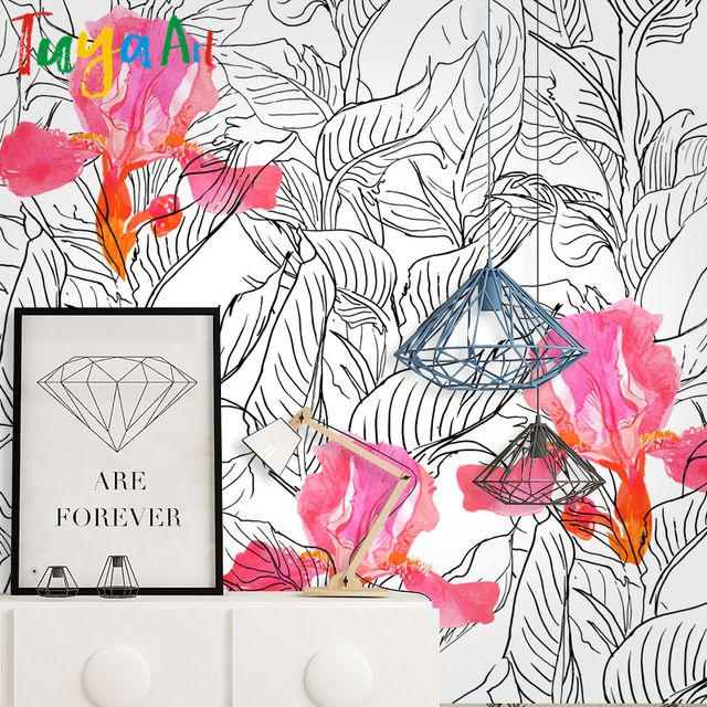 O envio gratuito de desenho a lápis esboço simples flores sofá tv fundo papel de parede mural papel de parede papel de parede de estilo moderno e minimalista