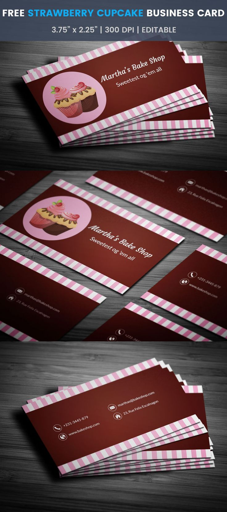 The 25 best bakery business cards ideas on pinterest bakery strawberry themed cupcake bakery business card full preview reheart Images