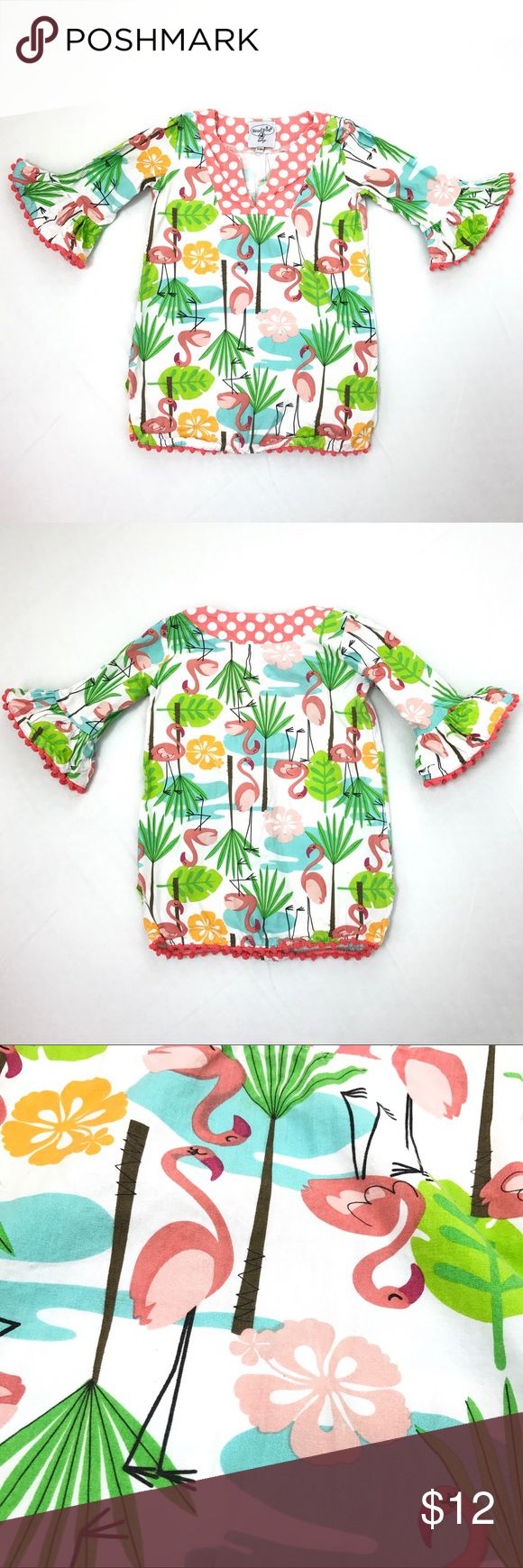 Mud Pie Baby Girl 12-18 Mo Flamingo Tunic Cover Up Mud Pie Baby girl multicolor flamingo print tunic/dress/swim cover up * size 12-18 months * 100% cotton * gently used with some wash wear, no flaws found Mud Pie Shirts & Tops