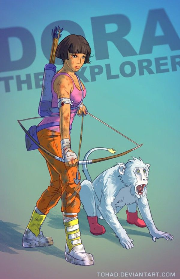 Dora  [Source: Tohad on Deviantart   via The Mary Sue] Read more at http://www.geeksaresexy.net/2014/02/26/artist-takes-childhood-figures-and-twists-them-into-something-twisty-gallery/#wXpmbk0qiHXqWLGb.99