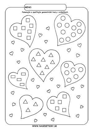 Geometrické tvary a počítanie na Valentína - Aktivity pre deti, pracovné listy, online testy a iné