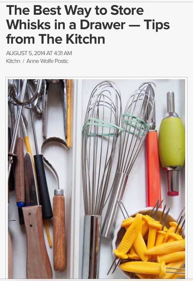 The Best Way To Store Whisks In A Drawer: Rubber Bands