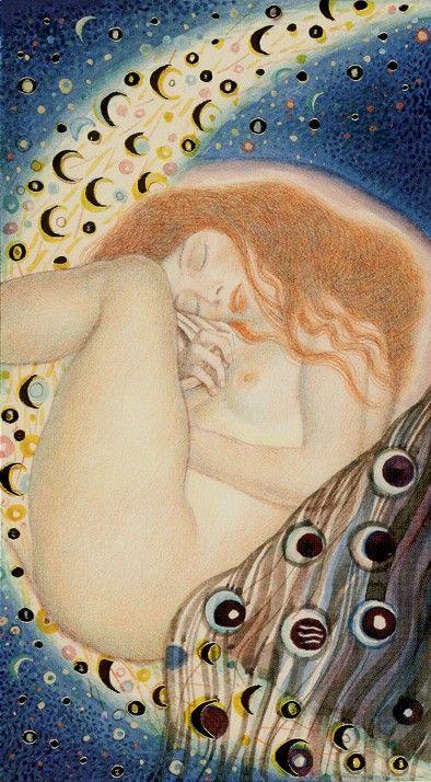 The Moon - Golden Tarot of Klimt