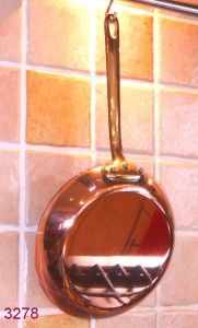 20.5 cm Professional Quality Tin Lined French Farmhouse Copper Frying Pan / Saute Pan With Brass Handle.