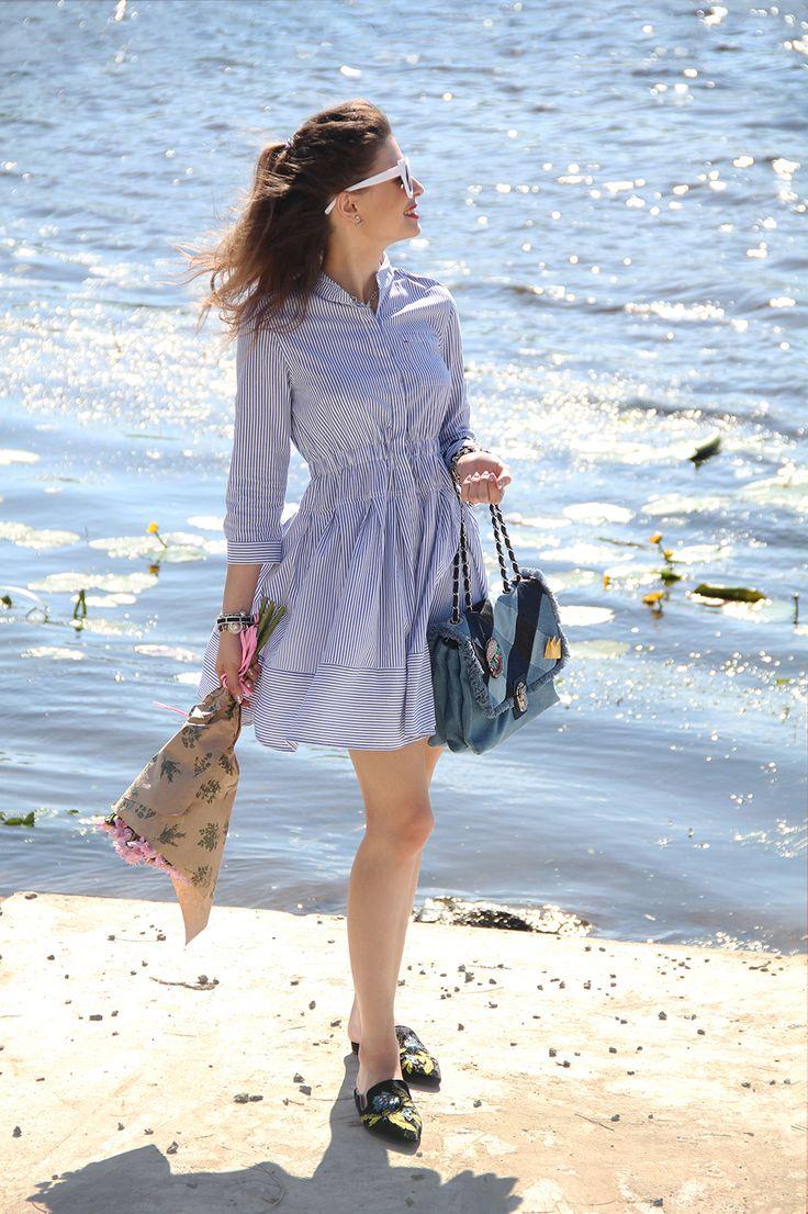 UKRAINIAN STYLISH REPORT: RIVERSIDE outfit \ Платье-рубашка и морская тема