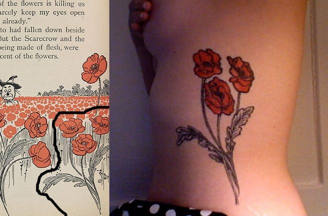 Poppy Tattoo_ wizard of oz. this would be perfect next to my mom's handwriting. Looking for something to add to it, a pop of color of some kind.