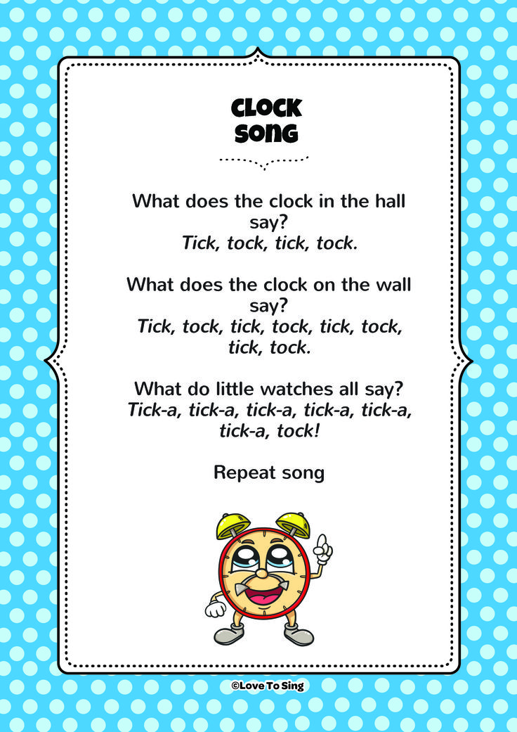 Clock Song. Download the FREE lyrics PDF from our website! http://www.childrenlovetosing.com/kids-song/clocks-tick-a-tock-clocks/
