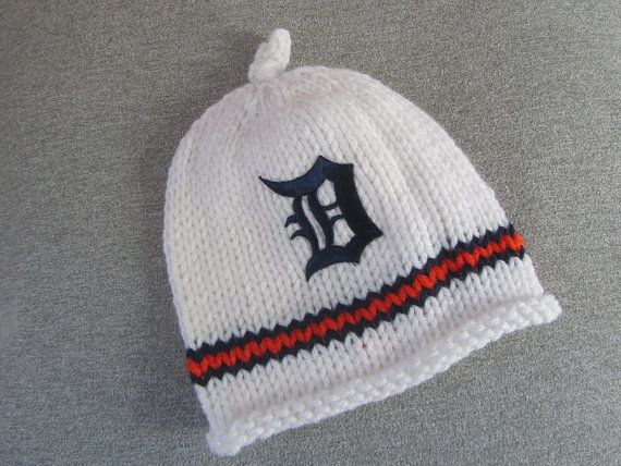 DETROIT TIGERS Hand Knit Baby Hat  Detroit Tigers by UpNorthKnits, $24.00