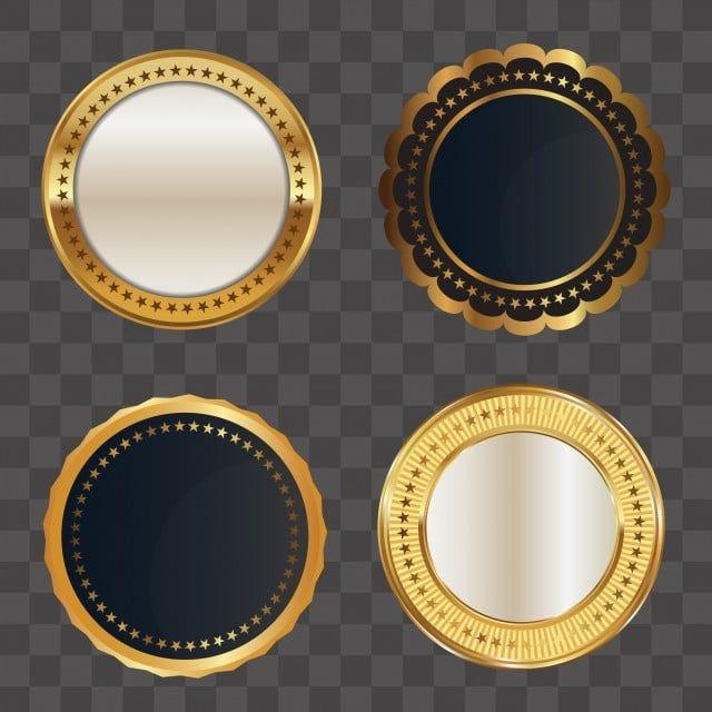 مجموعة من الشارة الذهبية الفاخرة الفاخرة ميدالية القصاصات ذهبي الممتازة Png والمتجهات للتحميل مجانا Badge Banner Background Images Free Vector Graphics