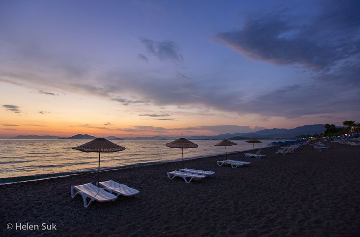 Turkish sunset on Calis Beach near Fethiye.