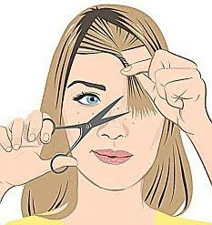 Enrole a mecha e corte com a tesoura na diagonal