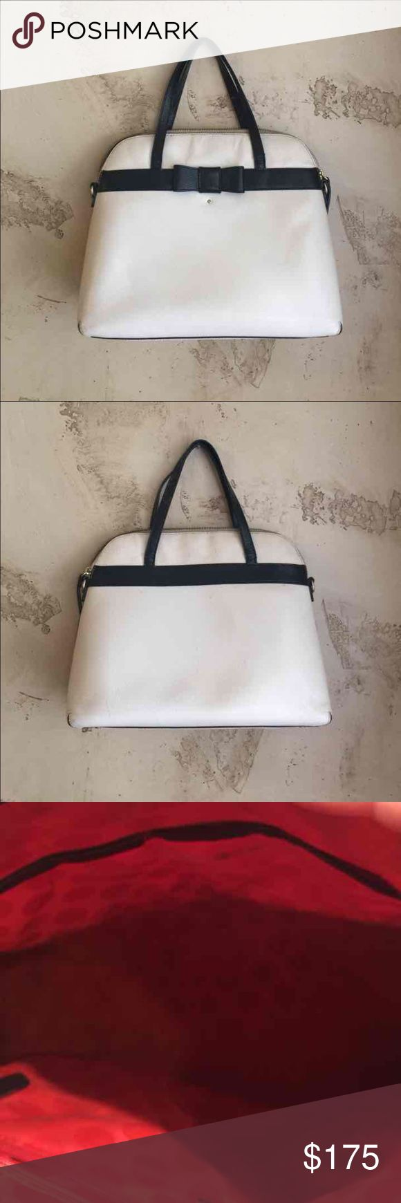 Kate Spade Kirk Park Maise Medium Handbag Reposh- bought on Posh however the seller neglected to mention that  she was a smoker😡. So the bag has remanence of cigarette smoke💨. I tried to cleaning out with a deodorizer  but I can't seem to get it out completely😞. There is a small hole in the lining of the bag which I'm sure is an easy fix.  The bag's lining has minor make up/pen marks Happy Poshing!   Open to trading reasonable offers will be considered kate spade Bags Satchels