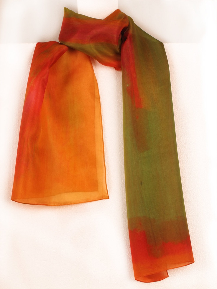 Scarf Silk Hand Paint In Bright Orange,red And Grass Green.Long  Multicolored Scarf
