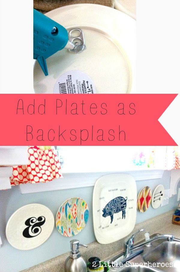 Add plastic plates to backsplash. Inexpensive way to cover up an ugly backsplash.