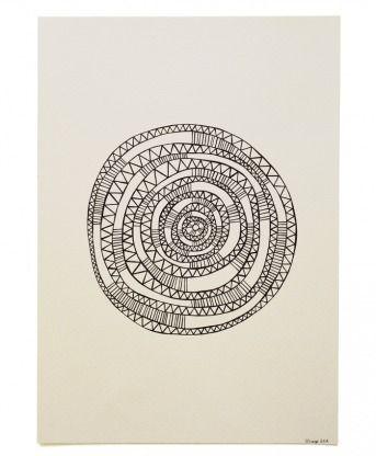 ROUND & ROUND BY: SARAH SHARPE 30CM X 42CM X 0CM, Ink on Paper $200 Fine black Artliner pen on 300gsm off white watercolour paper