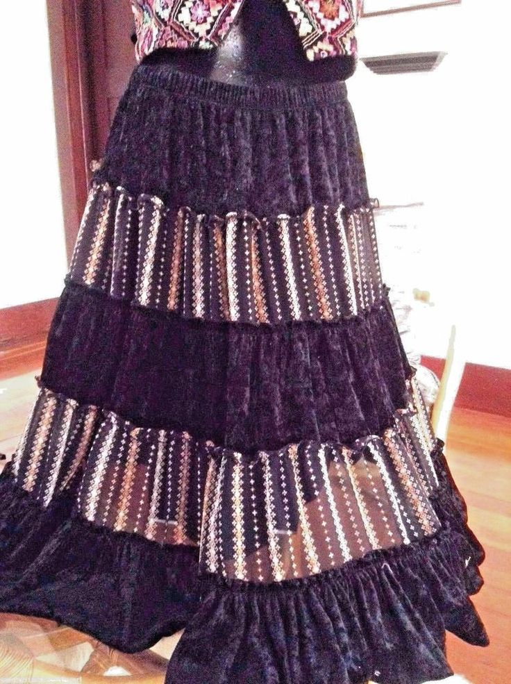 Boho Sz L Skirt L'Diva Black Velvet Gypsy Winter Tiers Lined Elastic Waist  | eBay