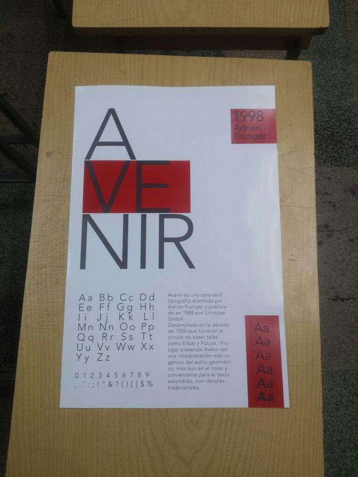 Esta es una entrega de tipografía,  consiste en representar una familia tipografica. En esta entrega decidi escoger a avenir.