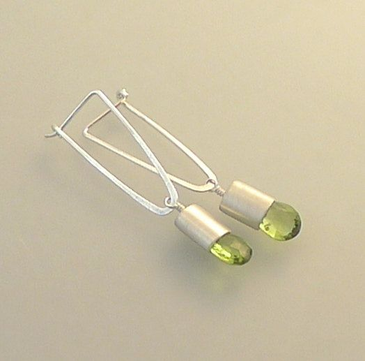Contemporary Sterling Silver and Peridot Earrings by bridgetclark earwires/setting pear bead..nice