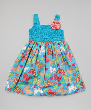 Turquoise Lace Bodice A-Line Dress - Toddler