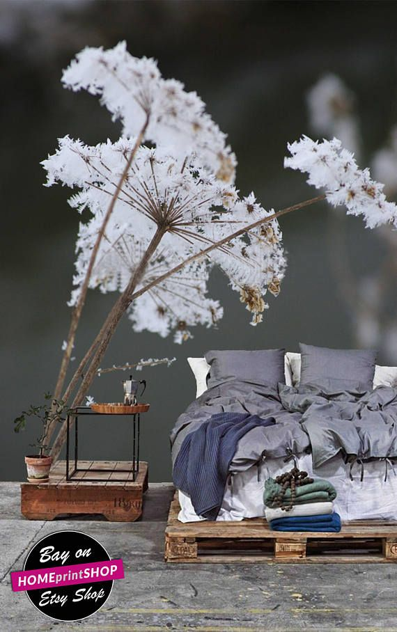 Winter white frost flower wallpaper snow - wall art decor - Removable Self Adhesive peel and stick wallpaper / wall mural #25