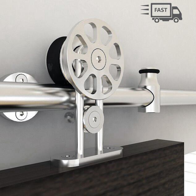 Lovely 5ft 8ft Top Mount Stainless Steel Spoke Wheel Sliding Barn Door Hardware