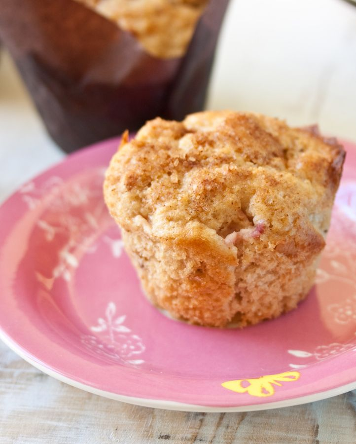 Make the most of the rhubarb season with pretty pink apple rhubarb muffins!