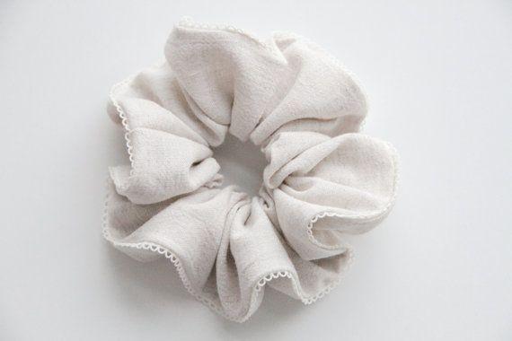 Simple Basic Minimalist Linen Hair Scrunchie with by KHandmadeHK, $12.00