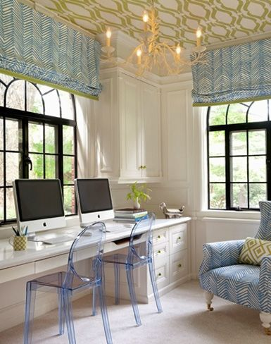 Ideas, Homework Room, Romans Shades, Offices Spaces, Interiors, Work Spaces, Workspaces, Ceilings, Home Offices