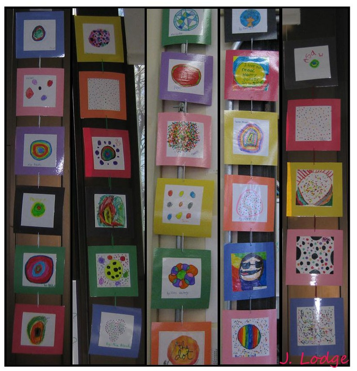 "Pinterest-inspired decorating in the library!  2nd graders made dots after reading The Dot by Peter H. Reynolds.  The picked out ""frames"" and signed their art.  Then I laminated the dots and strung them together using paperclips.  They definitely make the library more colorful!: Hanging Display, Book Lessons, Students Design, Book Ideas, Inspirational Display, 2Nd Grade"
