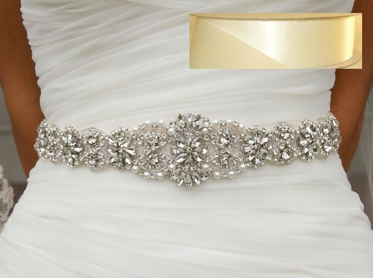 "Wedding Dress Belt = 17 1/2"" LONG Crystal Pearl SASH BELT= OFF  WHITE SATIN SASH"