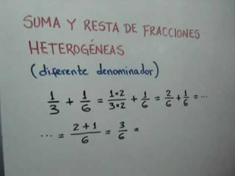 Suma y resta de fracciones heterogeneas (Parte 1 de 2): Julio Rios explica cómo sumar y restar fracciones de distinto denominador (heterogéneas). Parte 1 de 2.