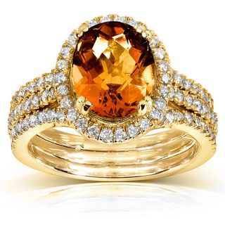 Lovely Orange Citrine and Diamond Engagement Ring Carat ctw in Yellow Gold Women us Size