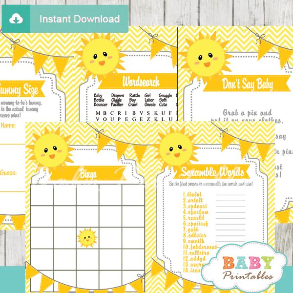 Fun to play printable you are my sunshine baby shower Games to keep your guests entertained. #babyprintables