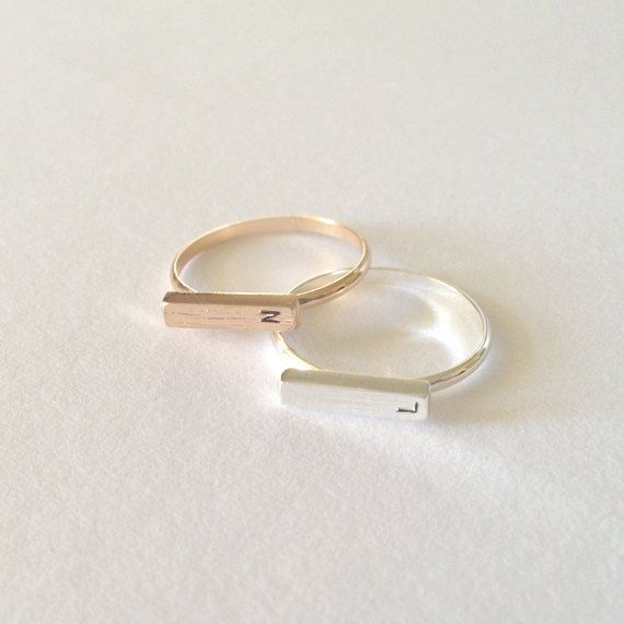 Dainty Personalized Rings, Initial Ring, Silver and Gold Plated, Friendship Rings, Birthday Gift, Everyday Jewelry
