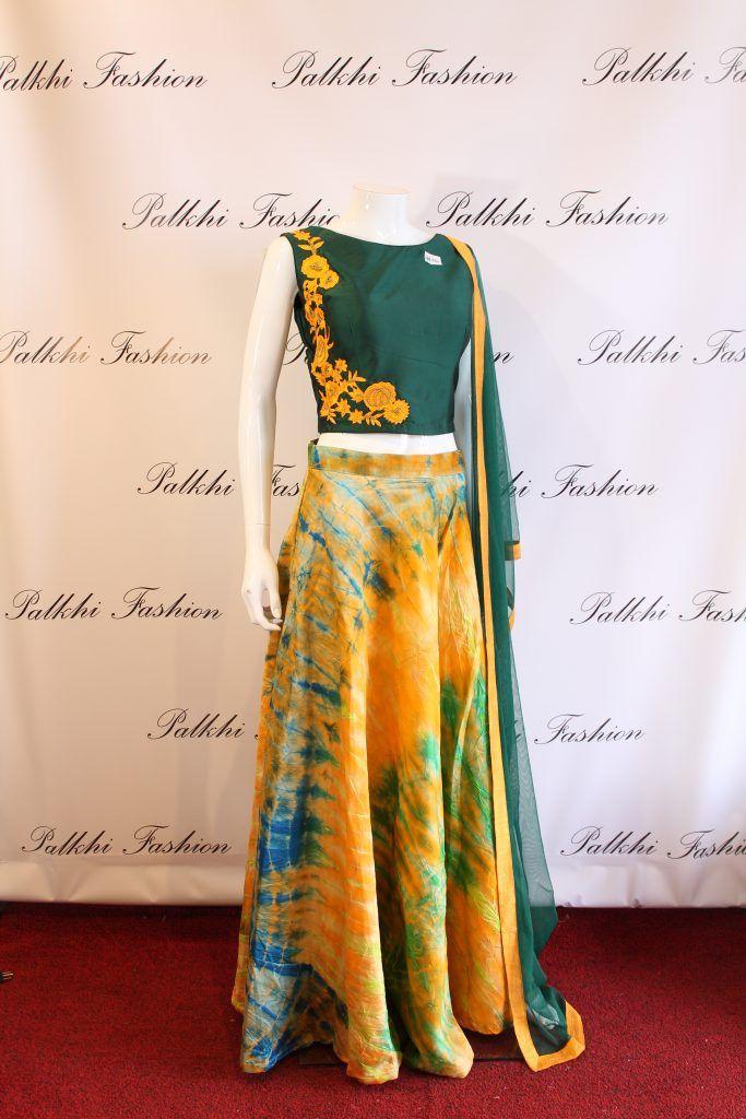 Palkhi Fashion fusion multi colored lehenga.