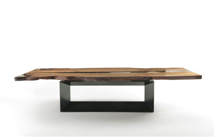 Riva 1920 'Cube' dining table, top in ancient New Zealand Kauri wood with crevices filled with a transparent resin, poured in and polished by hand. Amazing quality craftsmanship.
