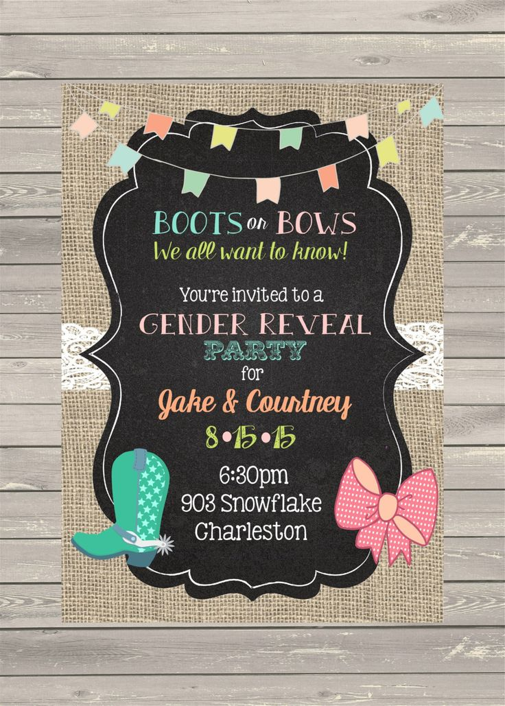 Boots or Bows Gender Reveal Party - Invitations- invites-Shabby Chic Baby Shower printable or digital file - ANY COLORS by noteablechic on Etsy