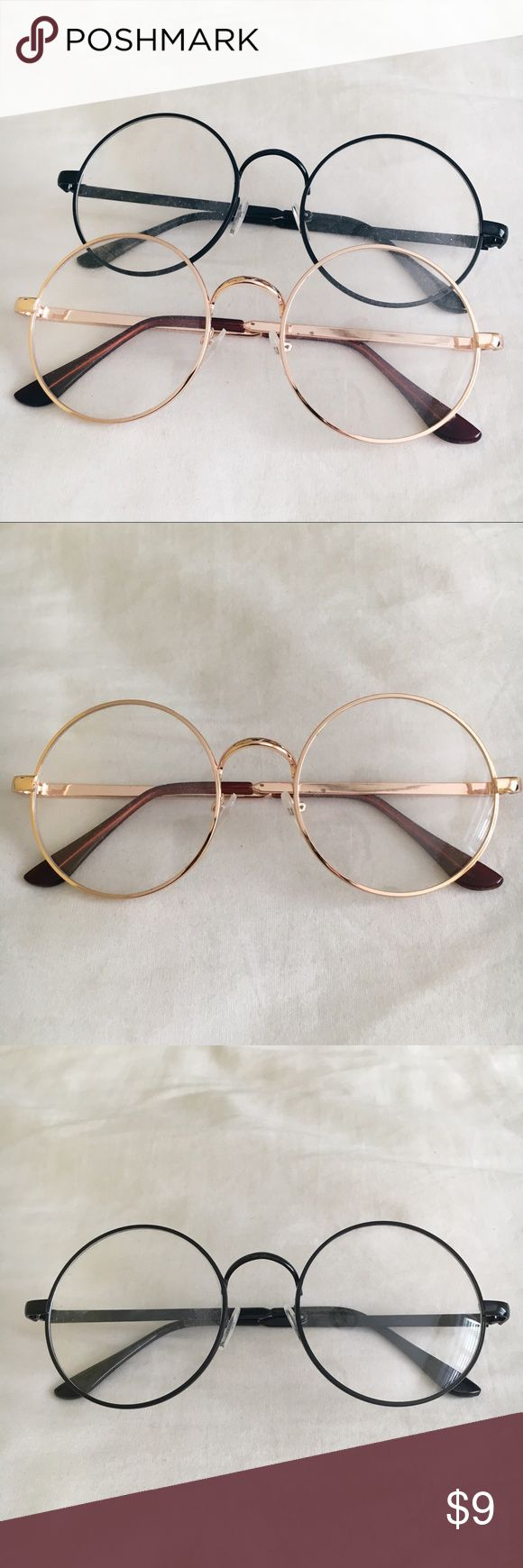 Korean Round Ulzzang Glasses A super trendy style inspired by the K Wave and Korean fashion. These round frames will make any style more classic. $9 each or bundle for a discount! One gold & one black pair available! Mixxmix Accessories Glasses