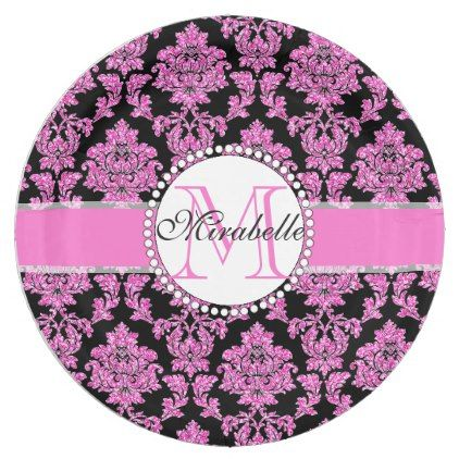 Pink glitter damask on black Name & Monogram Paper Plate - girly gifts special unique gift idea custom