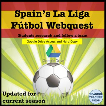 A webquest for Spanish soccer league La Liga. Have your students find out information about one of the 20 teams from Espana's premier soccer league. All the work is done and ready to use with this internet research project investigating the top futbol teams in Spain.