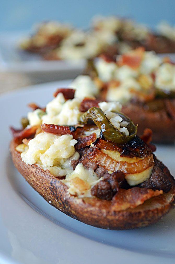 Bacon Blue Cheese Burger Potato Skins