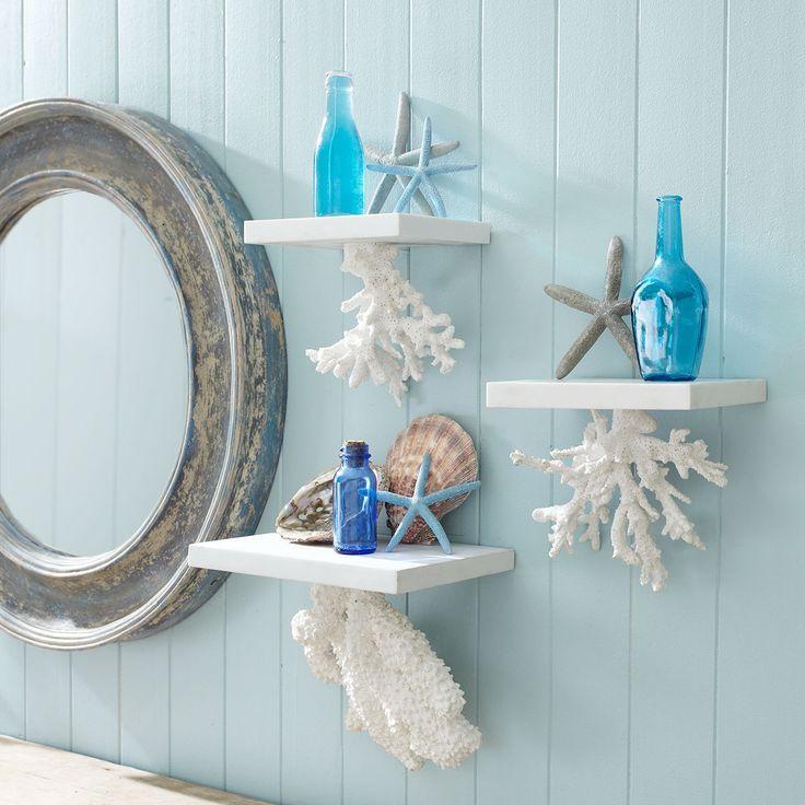 Floating Coral Shelf Nautica Bathroom Design Decor Beach Theme Bathroom Decor