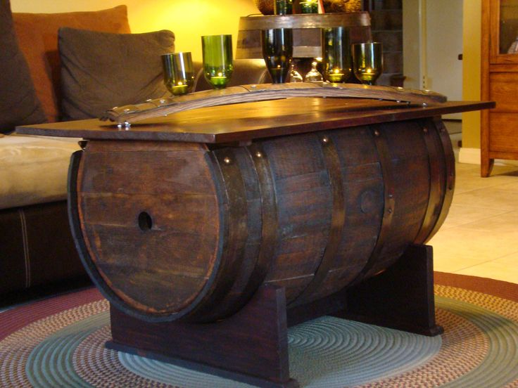 barrel coffee table | Gorgeous DIY Wine Barrel Coffee Table (with Pictures)