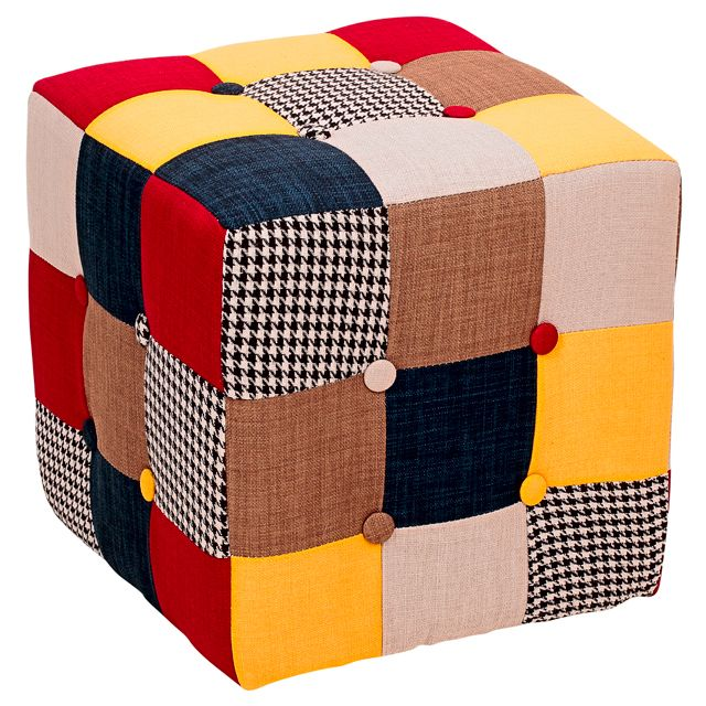 Пуфик мягкий текстиль 35х35х35см Клетка квадратный P00320003