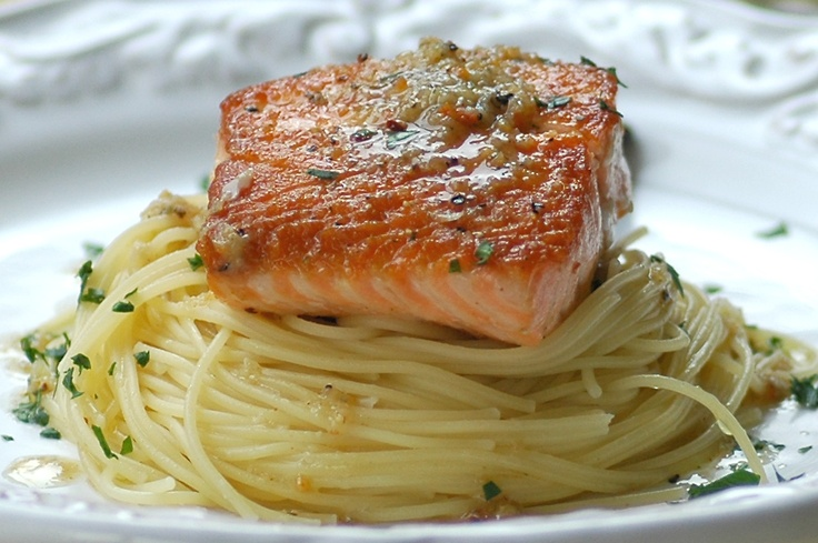 Crispy Grilled Salmon with Herbed Garlic Butter